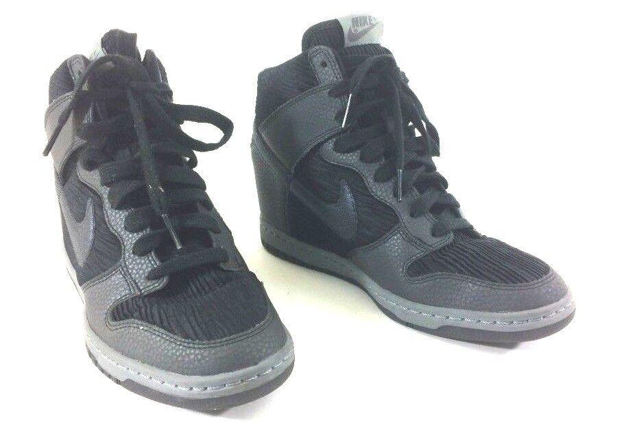 2015 Nike Dunk Sky Hi Wedge Black grey Metallic women size 8.5 shoes