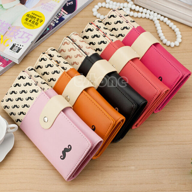 New Women PU Leather Long Purse Clutch Cute Button Wallet Bag Card Holder