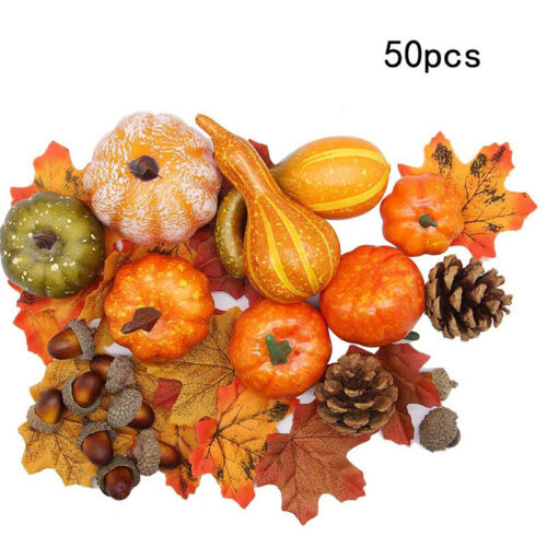 Fall Harvest Decorations Props Artificial Mini Pumpkin Gourd Berries Maple Leaf