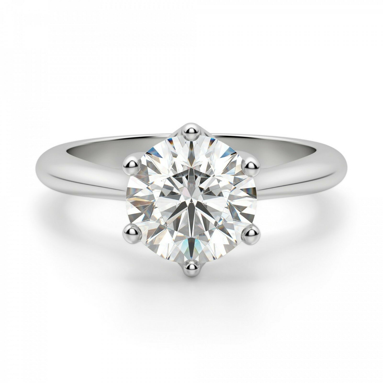 2.00 Ct Round Solitaire Moissanite Engagement Ring 14K Real White gold Size 5 6