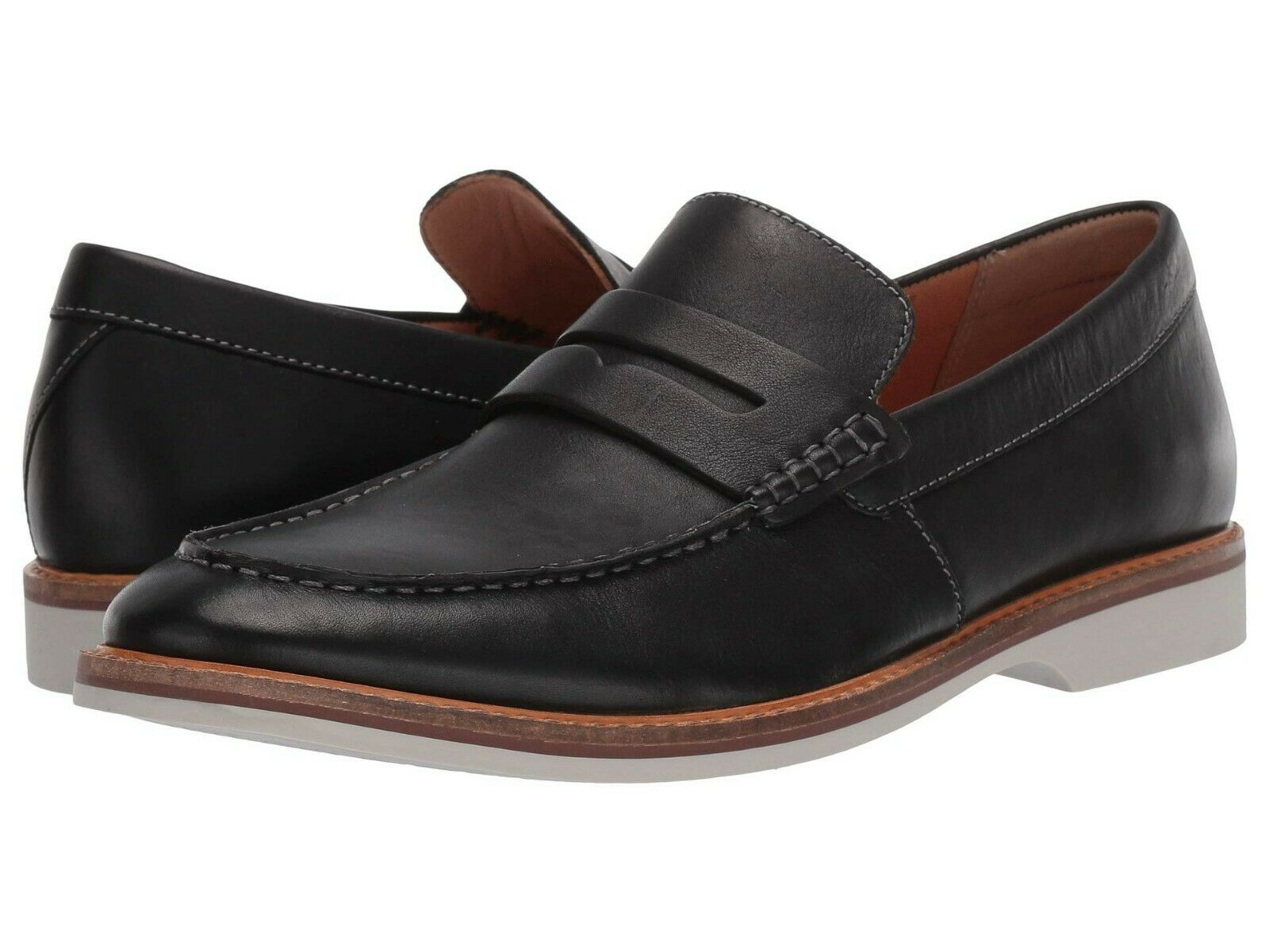 Men's shoes Clarks ATTICUS FREE Leather OrthoLite Penny Loafers 40241 BLACK