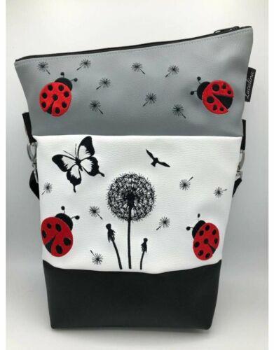 Handtasche Foldover Marienkäfer *handmade *bestickt Umhängetasche