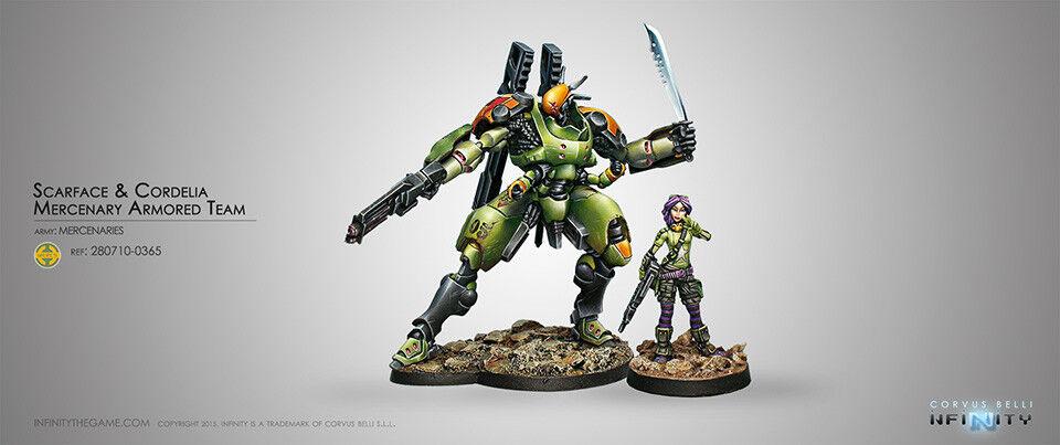 Infinity Corvus Belli Scarface & Cordelia Mercenary Armoruge Team TAG metal new