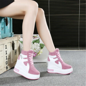 d30b409f7d62 Women s Hidden Wedge Heel Platform High Top Shoes Sneakers Lace up ...