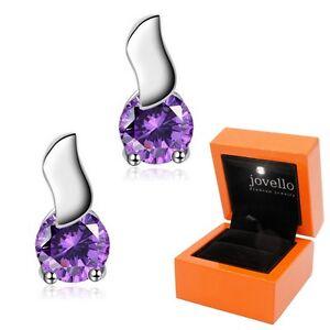 Lila-violett-Zirkonia-Ohrstecker-Ohrstick-aus-925-Silber-Luxus-LED-Schmuckbox