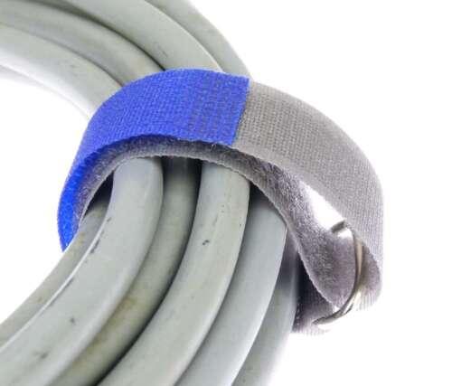 20 Klettkabelbinder mit Öse 200 x 20 mm blau FK Kabelbinder Klettband Kabelklett
