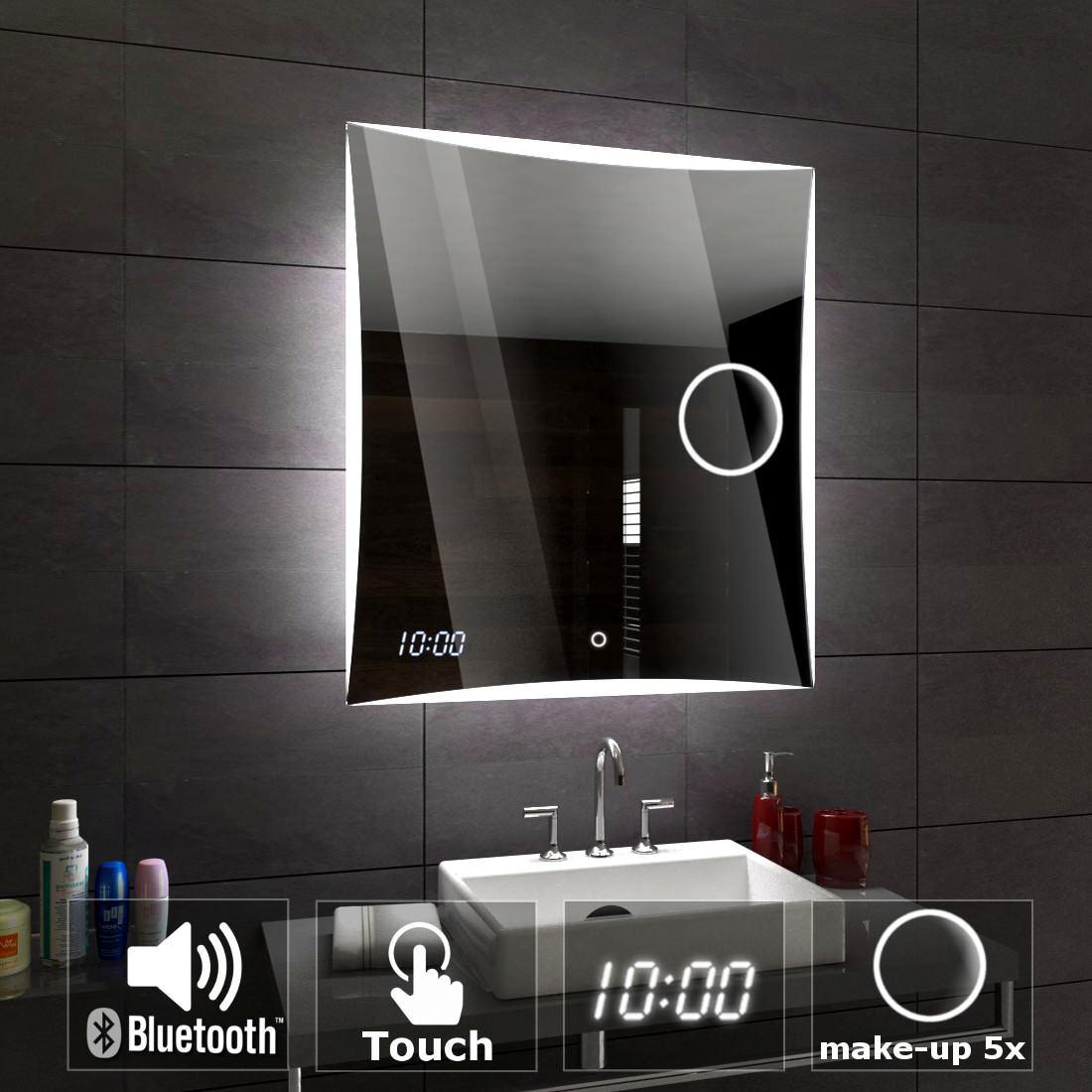 Lisbonne miroirs de sale bain avec éclairage LED mural tactile bleutooth montre