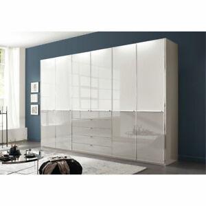 Details zu Kleiderschrank Shanghai Schrank Schlafzimmer in weiß und grau  Glas 300x236 cm