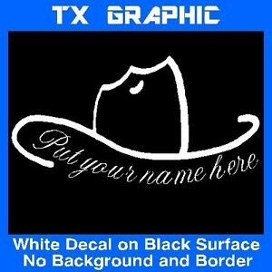 COWBOY HAT CUSTOM NAME COUNTRYSIDE HORSEMAN STICKER VINYL DECAL - Cowboy custom vinyl decals for trucks
