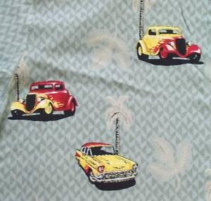 Classic-Cars-Hawaiian-Aloha-Shirt-Large-57-Chevy-Hot-Rod-Palm-Trees-Rayon