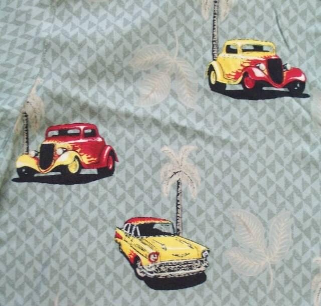 Classic Cars Hawaiian Aloha Shirt Large 57 Chevy Hot Rod Palm Trees Rayon