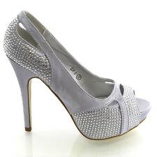 Nuevo Para Mujer Diamante Bridal Tacones Damas Plataforma Noche Prom De Boda Zapatos Talla
