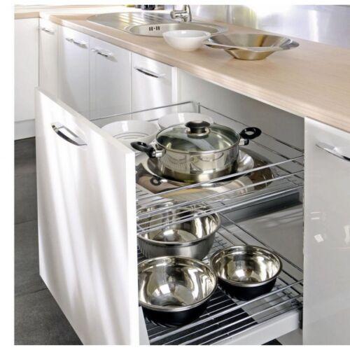 Korbauszugregal mit 3 Körben und Fronthalter Küchenschrank Auszug Chrom