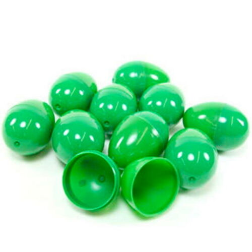 12 EMPTY GREEN PLASTIC EASTER VENDING EGGS 2.25 INCH, BEST PRICE FASTEST SHIP!!