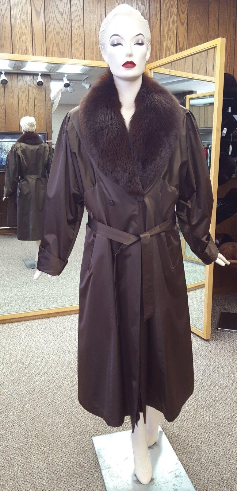 "Taffeta Silk 49"" Raincoat with Fox Fur Collar and Sheared Opossum Liner -sz 8-10"