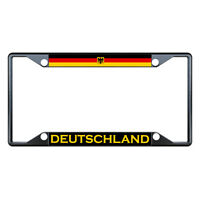 Germany Deutschland Flag Country Black License Plate Frame Tag Holder Four Holes