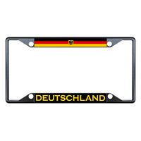 Germany Deutschland Flag Country Black License Plate Frame Tag Holder Four Holes