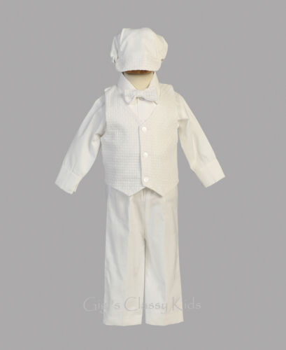 Baby Toddler Boys White Cotton Suit Outfit 5pc Hat Christening Baptism Nathan