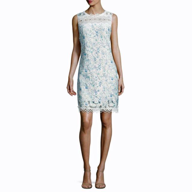 e06582435d9 Elie Tahari Ramira Floral Sheer Lace Sheath Dress Blue White NWT 6 8 ...