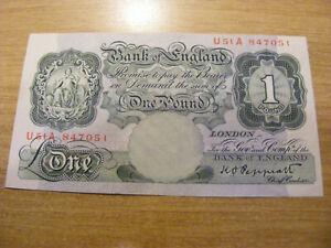 Green One Pound Banknote K Peppiatt U51A 847051, UNC very crisp UA num note