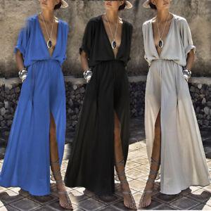 Mujer-Vestido-Verano-Profundo-Cuello-Pico-fiesta-Clubwear-Maxi-manga-corta-BC538