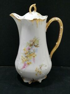 Antique-Furstenberg-Brunswick-Germany-FUR117-Chocolate-Pot-Floral-W-Gold-Trim