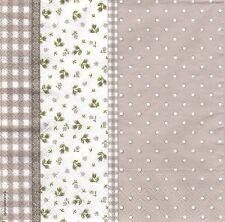 2 Serviettes papier Décor Fleuri Pois Vichy Decoupage Paper Napkins Lily taupe