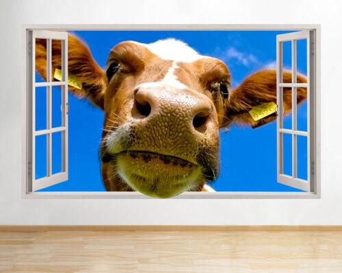 Wall Stickers Cow Farm Animal Bedroom Hall Window Decal 3D Art Vinyl Room C017