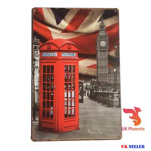 London The Big Ben Red Phone Box Metal Sign Tin Plate 20x30 Cm Great