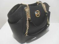 Michael Kors Black Saffiano Leather Jet Set Travel Chain Shoulder Tote Bag