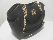 Michael Kors Black Saffiano Leather Travel Chain Shoulder Tote Bag Gold Mk Logo