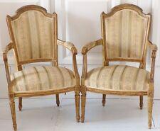 Paire De Fauteuils Louis XVI En Cabriolet , Bois Laqué, XIX ème
