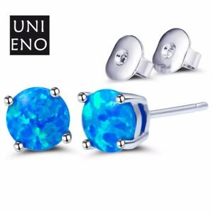 Fashion-Jewelry-Round-Fire-Blue-Opal-Gemstone-White-Gold-Plated-Stud-Earrings