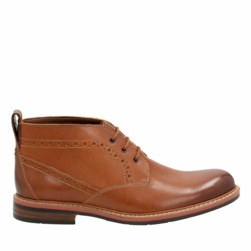 NEW MENS CLARKS BOSTONIAN MELSHIRE TOP TAN LEATHER LACE UP CHUKKA BOOTS 19393