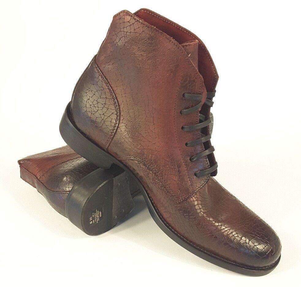NEW Robert Graham Men's Paisley Italian Leather Boots Leeds Burgundy Red Sz 11
