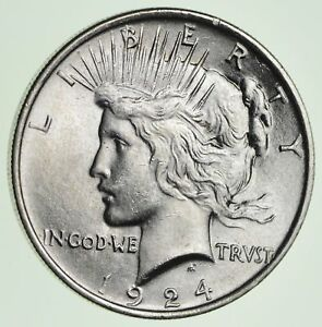 90/% Silver U S Silver Dollar Philadelphia 1924 Peace Dollar Ungraded No Mint Mark