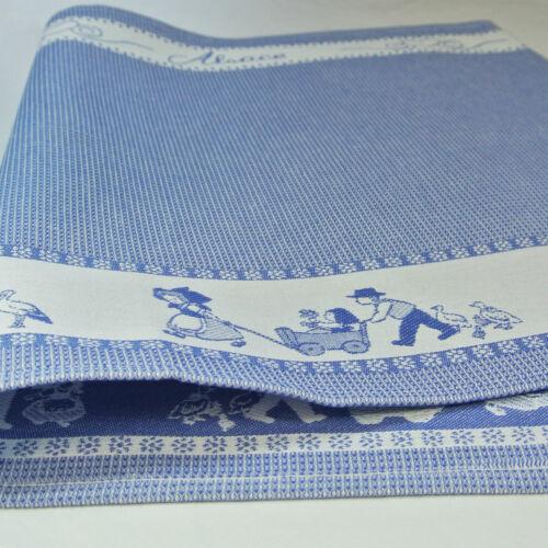 """bleu sur fond bleu Torchon Jacquard nid d/'abeille /""""Alsace/"""" 100/% coton"""