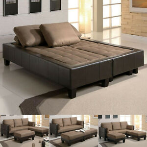 Fulton Tan Microfiber Convertible Sofa Bed Couch Sleeper Ottoman - Convertible sofa bed sectional