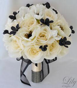 17pcs wedding bridal bouquet silk flower decoration package black image is loading 17pcs wedding bridal bouquet silk flower decoration package mightylinksfo