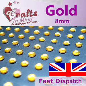 56-x-8mm-Gold-Quality-Rhinestone-Diamante-Gems-Diamonte-4-Greeting-Card-Crafts