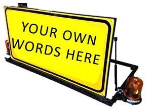 CHOOSE-YOUR-OWN-WORDING-Mounted-Vehicle-Sign-Warning-Flashing-Lights-Beacons