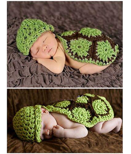Braun Kostüm Fotoshooting NEU Süße Baby Mütze Schildkröte Turtles Rücken Grün