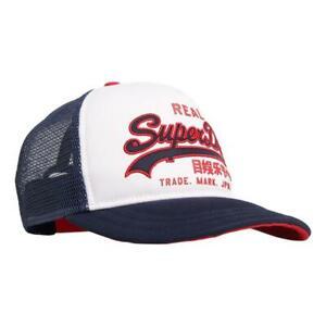 Superdry-Neuf-Homme-Vintage-Logo-Casquette-Camionneur-Blanc-BNWT