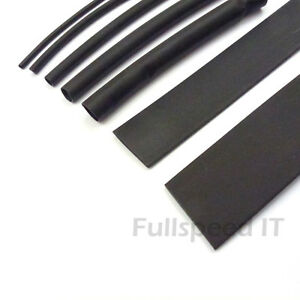 HEATSHRINK TUBES SLEEVING WIRING HEAT SHRINK BLACK 6.4mm TUBE SLEEVE 2:1 RATIO