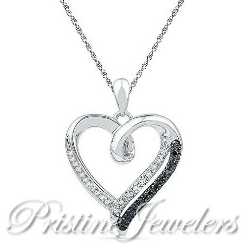 NEW 925 Sterling Silver Heart Necklace CZ Pendant /& Chain Women White Black Pave