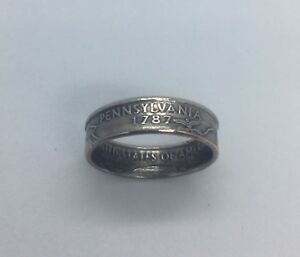 Pennsylvania-PA-Handcrafted-Washington-Quarters-coin-ring-Sizes-5-12-1999