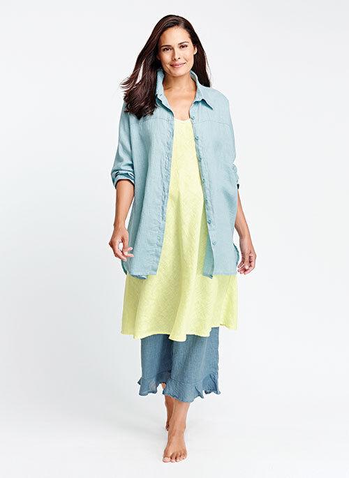 FLAX  Designs  LINEN   Shirt   S &  M & L   NWOT  Dramatic OvERsiZed  TOURMALINE