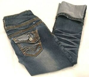 Rue-21-Womens-Blue-Distressed-Cropped-Capris-Cuffed-Jeans-1-2-27-x-22-Measured