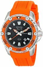 Bulova Marine Star 98B207 Men's Automatic Black Round Date Analog Silicone Watch