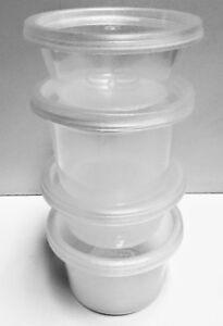 12 x SATCO Round Plastic Food Storage Container Pots Lids Deli